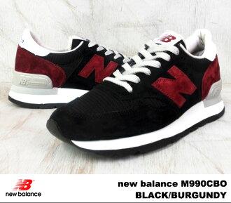 新平衡990黑色酒吧甘地new balance M990 CBO newbalance M990CBO BLACK/BURGUNDY人运动鞋