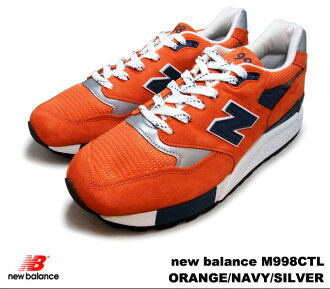 New balance 998 Orange Navy silver new balance M998 CTL newbalance M998CTL YORANGE/Navy/silver mens sneakers