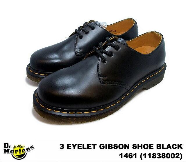 ドクターマーチン 3ホール ギブソン メンズ シューズ ブラック Dr.Martens 1461 3EYE GIBSON SHOE 11838002 BLACK