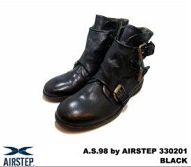 エアーステップ ブーツ ブラック メンズ レザー イタリア製 A.S.98 by AIRSTEP 330201 NERO (BLACK) MADE IN ITALY