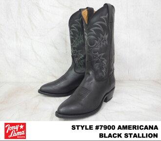Tony Lama托尼喇嘛AMERICANA amerikana#7900 BLACK STALLION burakkusutarion WIDTH:EE人西部长筒靴