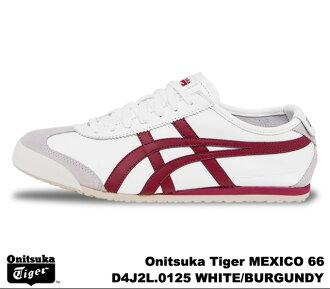 鬼冢虎 66 墨西哥白勃艮第葡萄酒鬼冢虎墨西哥 66 デe4j 2 L 0125 白色/BURGUNデEY 男式女式运动鞋