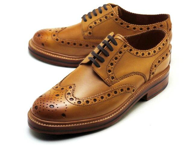 グレンソン 靴 アーチー ウィングチップ タン カーフレザー メンズ シューズ GRENSON ARCHIE V 110006 TAN CALF LEATHER