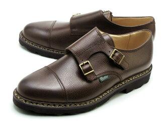 Paraboot 威廉雙僧侶帶暗棕色的鞋在法國 Paraboot 威廉 981435 暗棕色 GR 入了在法國製造