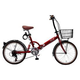 【送料無料】TOP ONE FS206LL-37-RD レッド [折りたたみ自転車(20インチ・6段変速)] 【同梱配送不可】【代引き・後払い決済不可】【沖縄・北海道・離島配送不可】