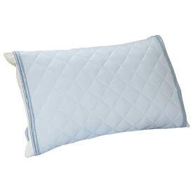 ひんやり ピローパッド 西川 サックス ブルー 吸水 吸汗 洗える 50×50cm シンプル 夏 快適 冷感寝具特集