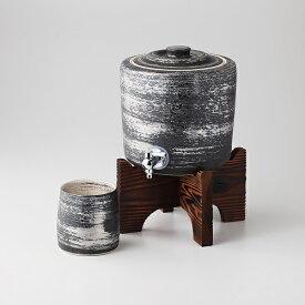 西日本陶器 TC06-04銀刷毛 焼杉台付焼酎サーバー+ビッグカップ メーカー直送