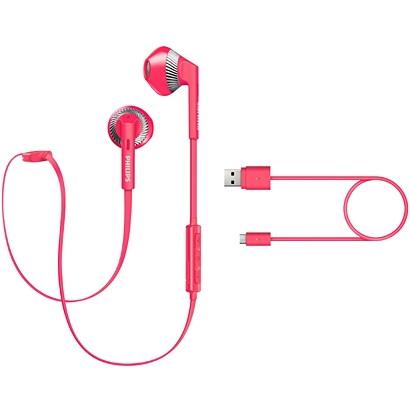 フィリップス Bluetooth対応 マイク付ワイヤレスインイヤーヘッドフォン SHB5250PK ピンク インナーイヤー イヤホン 音楽 ミュージック
