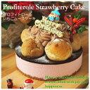 クリスマスケーキ 2019 早割 イチゴケーキ 2種の贅沢 プロフィトロールいちごムースケーキ 5号サイズ (直径14cm) ギフ…
