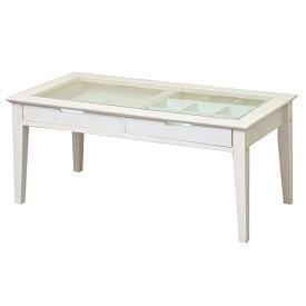 コレクションテーブル ガラステーブル センターテーブル天然木 ディスプレイ ショーケース 収納 リビング 白家具 モノトーン アンティーク風 クラシカル ホワイト 市場 INT-2576WH