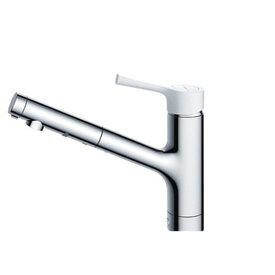 TOTO TKS05306Z GGシリーズ (台所用水栓) [シングル混合水栓 (ハンドシャワー・吐水切り替えタイプ・台付き1穴・樹脂ハンドル・寒冷地用)]
