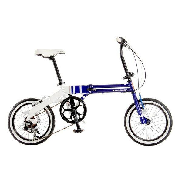 【送料無料】DOPPELGANGER 105 ブルー×ホワイト URBAN FLAMINGO [折りたたみ自転車 16インチ 6段変速]【同梱配送不可】【代引き不可】【沖縄・離島配送不可】