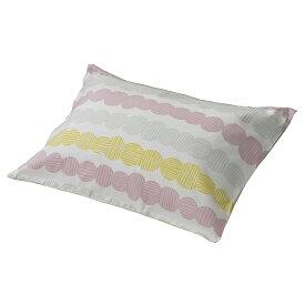 ピローケース 枕カバー ピンク カラフル 綿100% 両面プリント ファスナー式 45×65cm 柄 かわいい シンプル 西川 IR-JV-M