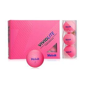 VOLVIK(ボルビック) ゴルフボール VIVIDLITE(ビビッドライト) 1ダース(12個入り) ピンク 【日本正規品】