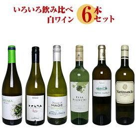いろいろ飲み比べ 白ワイン 6本セット 【 ワイン ワインセット 白 フランス スペイン アルゼンチン ニュージーランド 飲み比べ 詰め合わせ セット 】