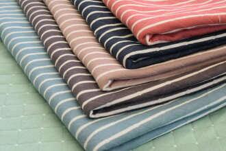 Cloth for double width 140cm Pres-de original reversible kilt knit horizontal stripe & dot ■