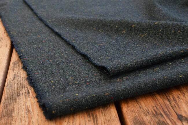 ●広幅140cm ウール カラーネップ混 ツィード生地《ネイビー》■カラーネップを織り込んだ、ウールツィード生地♪ 【 ウール 生地 】【 ウール 無地 】【 ウール ツィード 】【 ツィード 生地 】