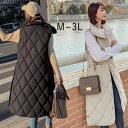 ロングベスト 中綿 ベスト ダウンベスト コート ジャケット アウター スタンドカラ- ロング丈 ノースリーブ  大きめサイズ  体型カバー 着痩せ 秋冬 防寒 レディース M L LL 3L