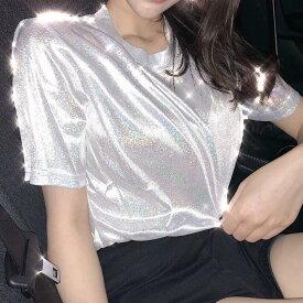 トップス キラキラ 原宿系 ファッション レディース 派手 個性的 ダンス 衣装 コスチューム ヒップホップ ステージ衣装 HIPHOP 大きめ