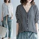 ドルマン シャツ ブラウス Tシャツ レディース 半袖 大きめ Vネック ストライプ オーバーサイズ ゆったり 楽チン