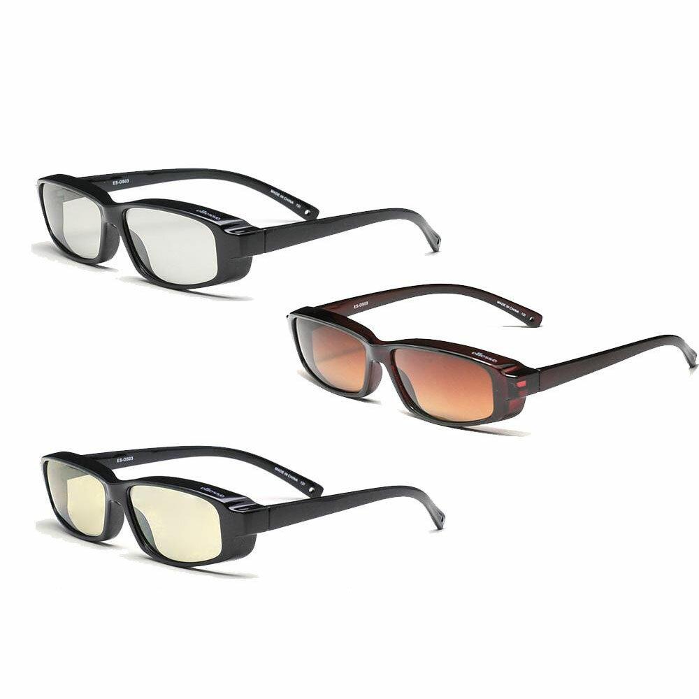 ellesse エレッセ メガネの上からかけられるオーバーサングラスSサイズ ES-OS03 ブラック偏光スモーク