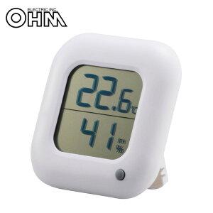 オーム電機 OHM デジタル温湿度計 白 TEM-100-W