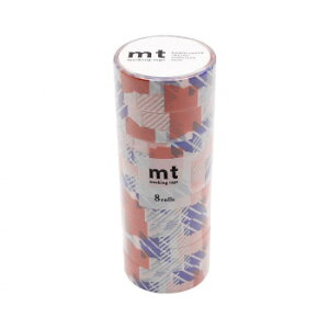 mt DECO マスキングテープ 15mm×7m 単色8巻入りパック つぎはぎ・ブルー×オレンジ MT08D446