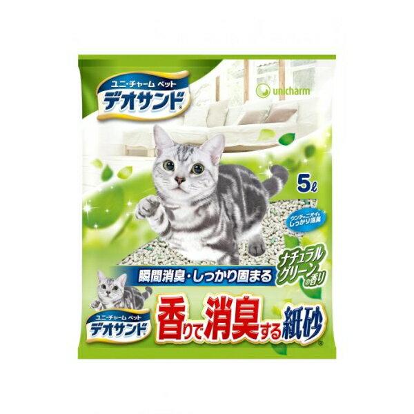 デオサンド 香りで消臭する紙砂グリーン5L [キャンセル・変更・返品不可]