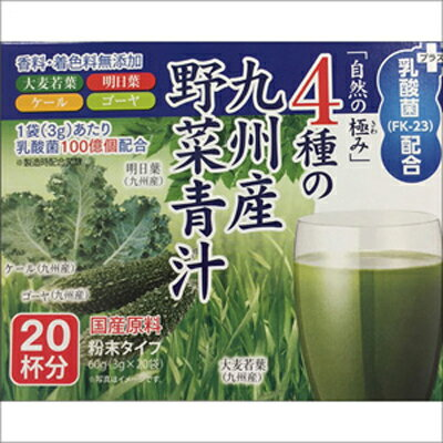 4種の九州産野菜青汁+乳酸菌(FK-23)配合 1箱60g(3g×20袋)×20箱 [キャンセル・変更・返品不可]