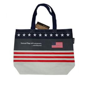 Bandiera(バンディエラ) ナショナルフラッグ ショルダートートバッグ L USA エコバッグ ミニエコ コンビニ エコ ジッパーなし アメリカ 国旗 星条旗 地図 10702 メール便不可