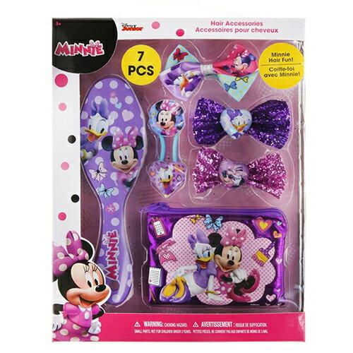 子供会 景品 ミニーマウス ヘアアクセサリーセット 7PCS ミニー Disney MINNIE ヘアブラシ ヘアゴム りぼん リボンゴム ブラシ ポーチ おもちゃ おしゃれ 子供用 女の子 インポート プレゼント ギフト 13263