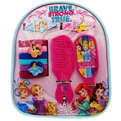 ディズニープリンセス ヘアアクセサリーセット 13595 Disney Princess アクセサリー ブラシ ヘアクリップ ミラー 鏡 くし ヘアブラシ ミ二バックパック ポーチ ピンク メール便不可