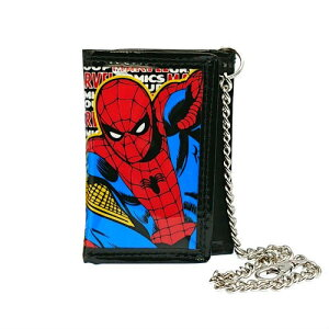 スパイダーマン チェーンウォレット アメコミ 13672 メール便配送 送料無料 SPIDER-MAN MARVEL 財布 さいふ ウォレット くさり 子供用 キッズ お遣い 折り畳み 三つ折り