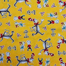 ドクタースース 生地 CAT IN THE HAT イエロー プリント生地 【50cm以上10cm単位】 13869 Dr.Seuss 入園 入学 手芸 裁縫 キャラクター グッズ 輸入品 インポートメール便配送可