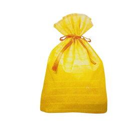 ラッピング 袋 大 ギフトバッグ 不織布 リボン付き ( ボーダー LL 黄色 イエロー ) 14780-yellow 底 マチあり 底マチ 大きいサイズ おおきいサイズ 一枚 単品 巾着 袋 巾着袋 ラッピンググッズ ラッピング用品 ギフト プレゼント 包装 グッズ