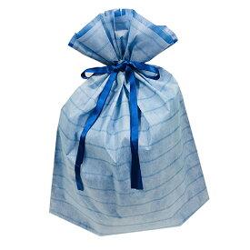 ラッピング 袋 大 ギフトバッグ 不織布 リボン付き ( ボーダー LL 青 ブルー ) 14780-blue 底 マチあり 底マチ 大きいサイズ おおきいサイズ 一枚 単品 巾着 袋 巾着袋 ラッピンググッズ ラッピング用品 ギフト プレゼント 包装 グッズ