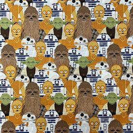 生地 布 綿100% ( スターウォーズ 総柄 ) 【50cm以上10cm単位】15460 キャラクタ−生地 入園 入学 入園準備 入学準備 コットン 手作り 手芸 ハンドメイド 男の子 かっこいい ドロイド BB-8 C3PO R2D2 チューバッカ かわいい Disney インポート キャラクター 雑貨