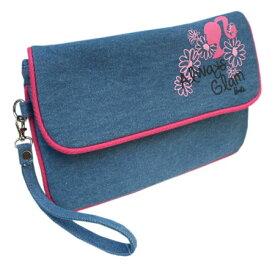 バービー Barbie デニムクラッチバッグ ハンドバッグ 8930 キャラクター バック 鞄 かばん かわいい 女の子 カジュアル グッズ 雑貨 送料無料 メール便配送