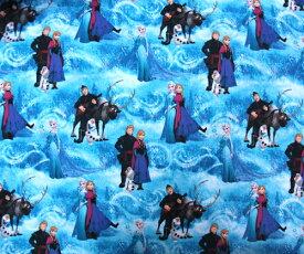 アナと雪の女王 生地 プリント生地 ブルー 生地 【50cm以上10cm単位】10170 FROZEN アナ雪 プリンセス エルサ オラフ 女の子 キャラクター 雑貨 グッズ 輸入 インポート 巾着袋に最適 メール便配送可