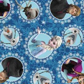 【50cm以上10cm単位】アナと雪の女王 フリースプリント生地 51870 10257 FROZEN アナ雪 布 青 ブルー ふわふわ 手作り 手芸 ハンドメイド エルサ オラフ キャラクター 女の子 海外 輸入 インポート グッズ 入園 入学 準備 ファブリック テキスタイル