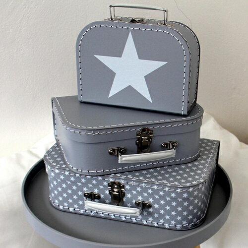 【見せる収納にもオススメ♪】紙製スーツケース3個セット スター グレー KAZET-4190SET   輸入 おしゃれ かわいい プレゼント pud197
