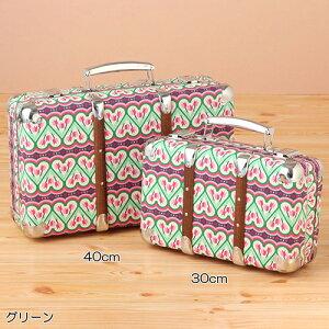 布張スーツケース クロッグダンス(グリーン) 30cm KAZET30-FA2 | 輸入 おしゃれ かわいい プレゼント グッズ 小物 インテリア ホビー ポップ pud452