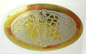 フォイルステッカー 葡萄 fsgr シール 箔押し エンボス オーバル ゴールド ぶどう ラッピング 包装 ギフト プレゼント 送料無料 メール便配送
