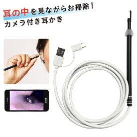 耳かきカメラ スコープ パソコン スマホ カメラ 高画質 耳かき 顕微鏡 肌 頭皮 USB PC【ハロウィン】