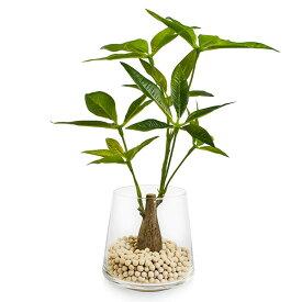 フェイクグリーン 人工観葉植物 造花 パキラ エコストーン ガラストラペゾイド GREENPARK| フェイク グリーン 観葉植物 リアル 人工 おすすめ インテリア おしゃれ 卓上 プレゼント ギフト インテリアグリーン アーティフィシャルグリーン 移転祝い お祝い 室内 枯れない