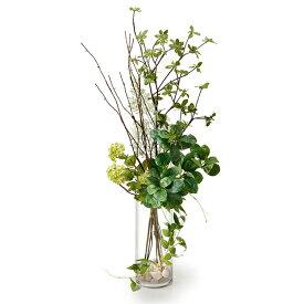フェイクグリーン 人工観葉植物 造花 大型 ドウダンツツジ&グリーン ガラスシリンダーH35 GREENPARK | 観葉植物 観葉 植物 人工 人工植物 インテリアグリーン インテリア フェイク グリーン アーティフィシャルグリーン おしゃれ イミテーショングリーン