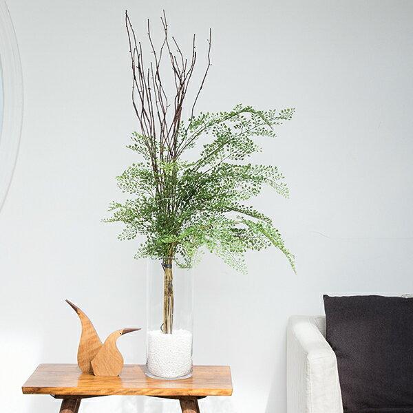アジアンタム ガラスシリンダーH35 人工観葉植物 フェイクグリーン 造花 GREENPARK