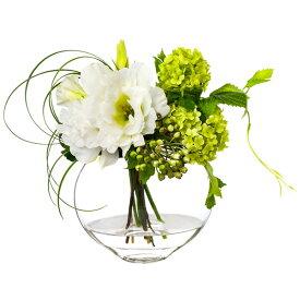 フラワーアレンジメント 造花 アーティフィシャルフラワー リシアンサス ホワイト ウォーターアレンジ PRIMA|フェイクフラワー ガラス容器 インテリア 贈り物 花 アートフラワー フラワーギフト 誕生日 プレゼント ギフト アレンジ 枯れない花