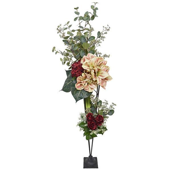 フラワーアレンジメント 造花 アーティフィシャルフラワー 大型 ディスプレイアマリリス アイアンスタンド PRIMA | フェイクフラワー インテリア フラワーギフト アートフラワー シルクフラワー 開店祝い 玄関 エントランス 開業祝い