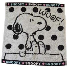 タオル かわいい スヌーピー グッズ ジャガード ハンドタオル 可愛い キャラクター 雑貨 メール便可 ブラック
